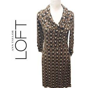 LOFT Size 4 Dress Brown Mod Retro Print Sheath